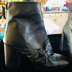 TopShop leather black leather angled heel boots